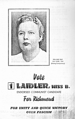 Election pamphlet for Bertha Laidler in 1943